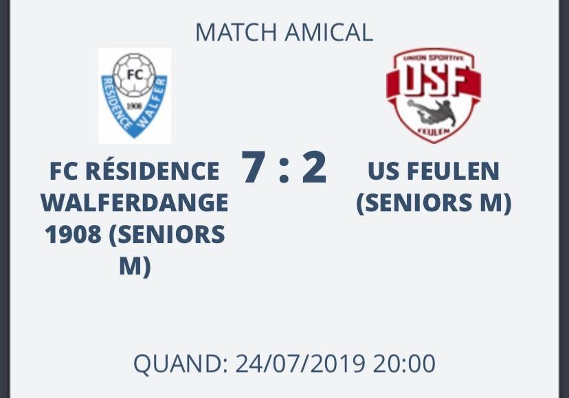 24/07/2019 Resultat Match Amical