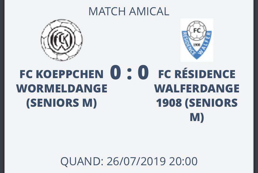26/07/2019 Résultat du match amical de ce jour: