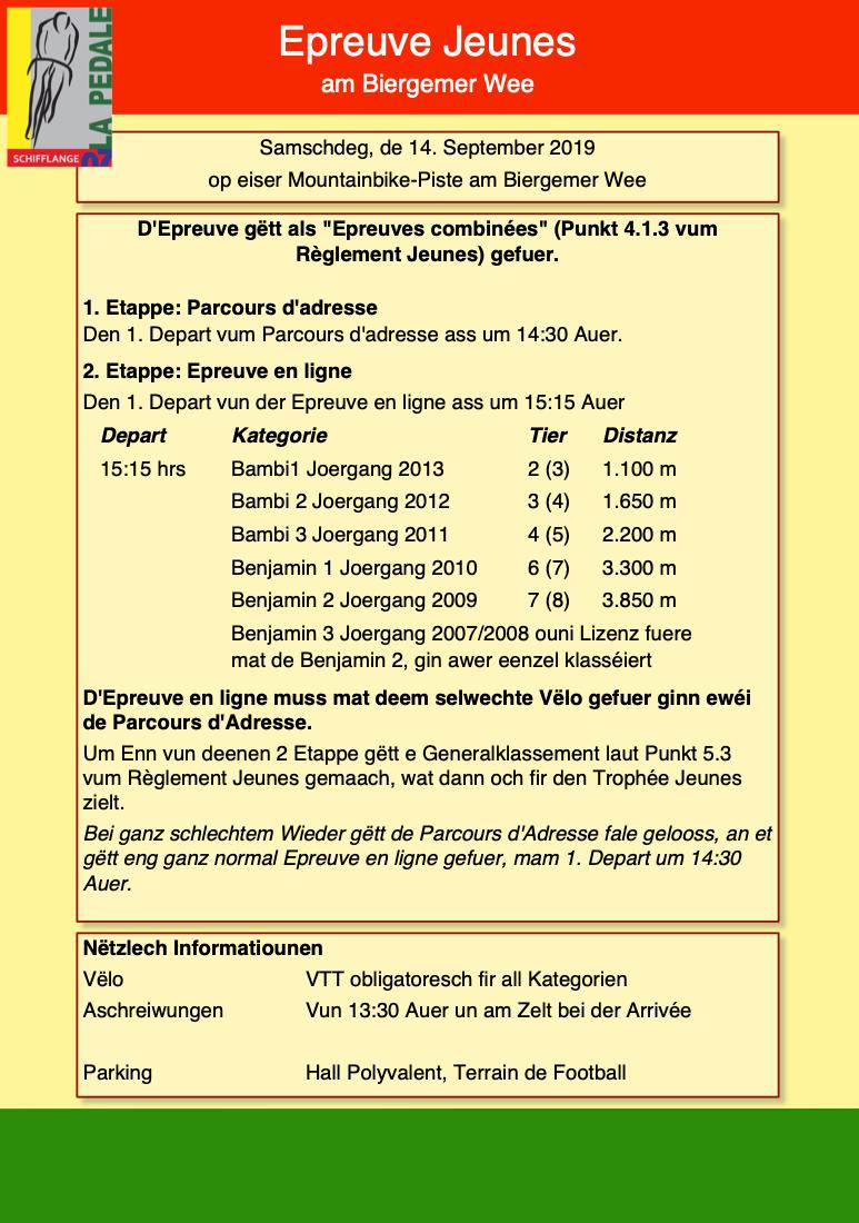 Epreuve Jeunes vum 14. September
