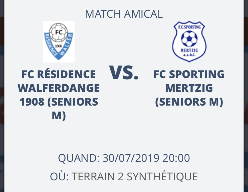 30/07/2019 Match amical