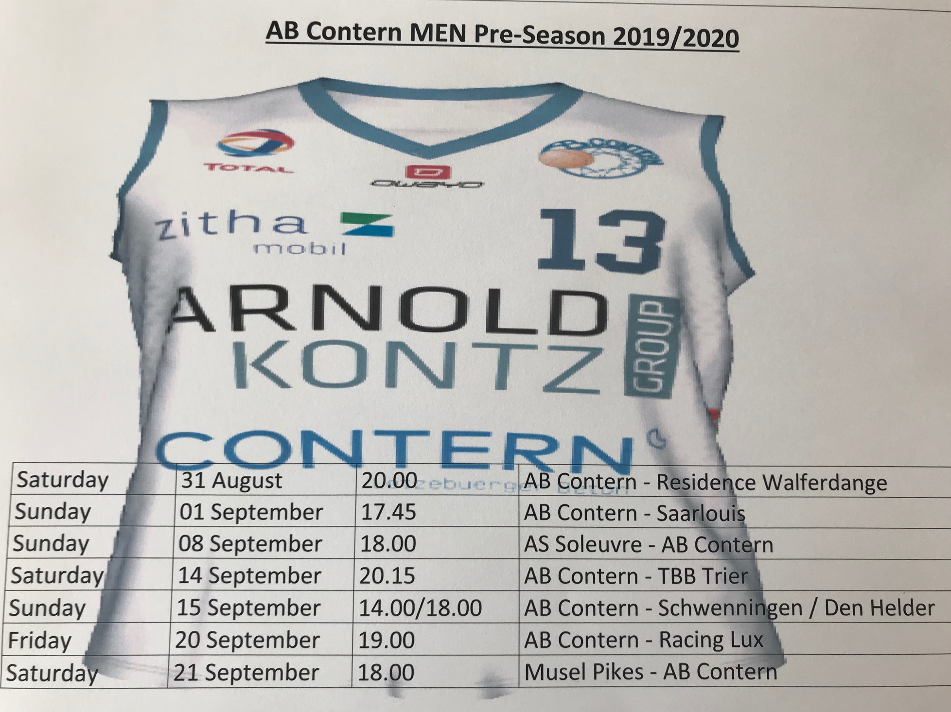 Contern announce 2019 - 2020 Pre - Season Schedule / Tournament Voyages Emile Weber