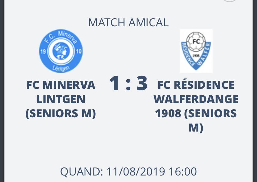 11/08/2019 Resultat Coupe du Centre - Qualification en finale
