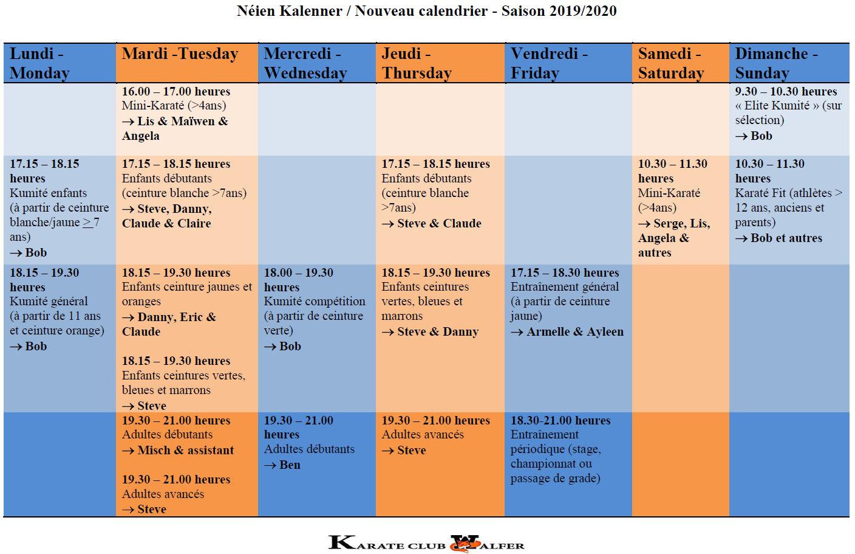 Néien Trainingsplang - Horaires d'entraînements - Practice schedule - 2019-20