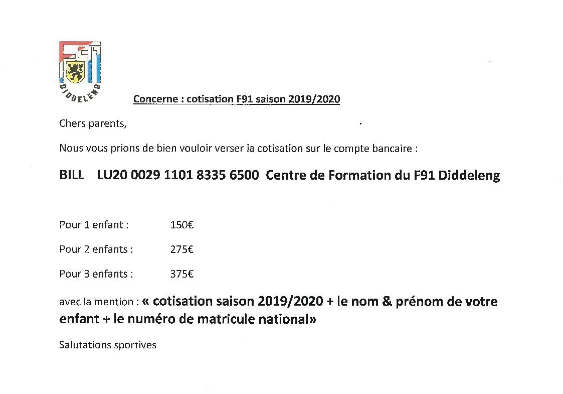 Centre de Formation - Cotisation Saison 2019/2020