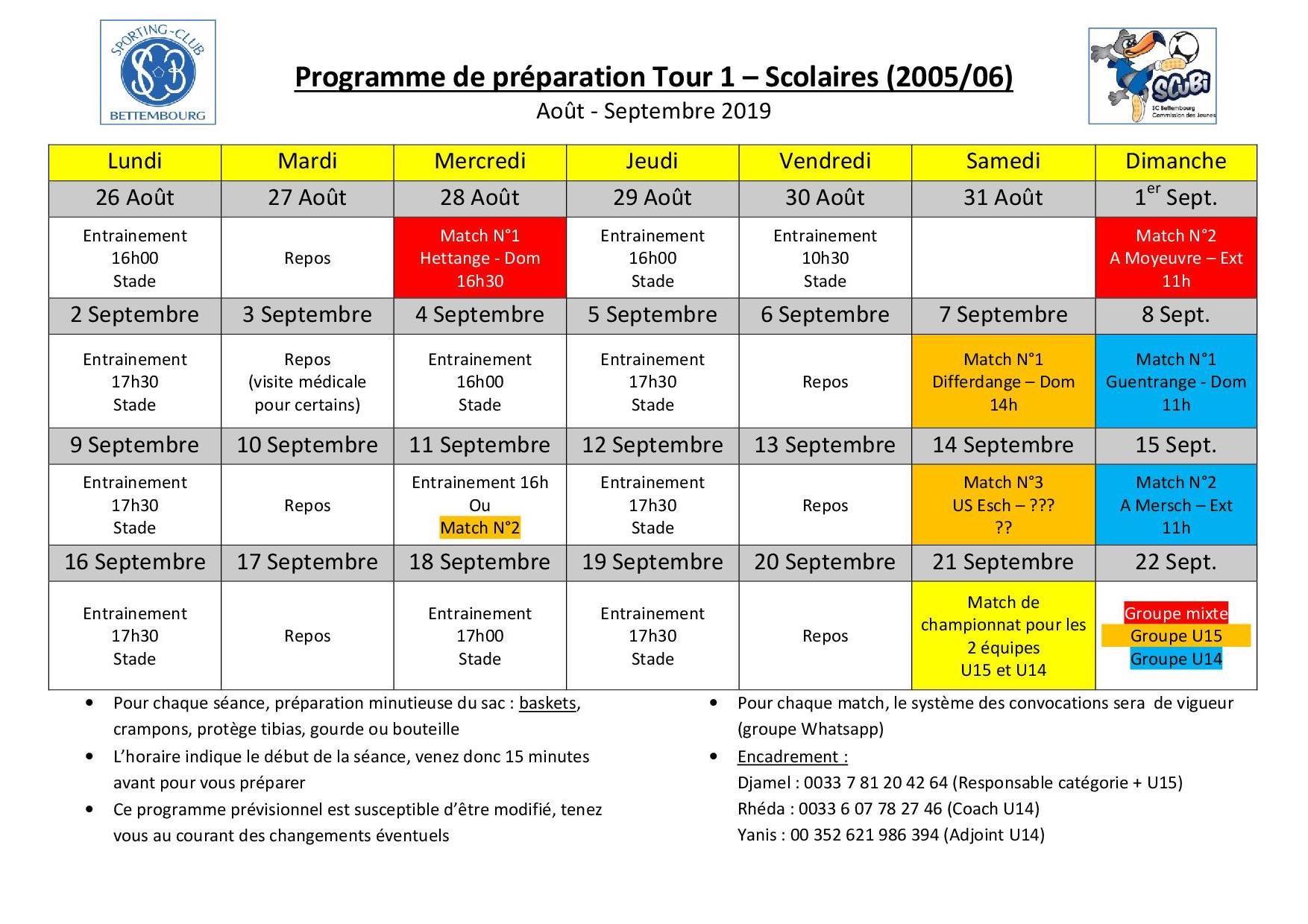 Programme Scolaires - Préparation estivale tour 1 - 2019 2020