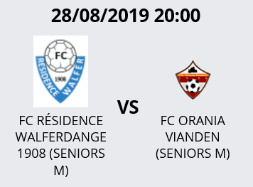 28/08/2019 20h00 Match Coupe FLF