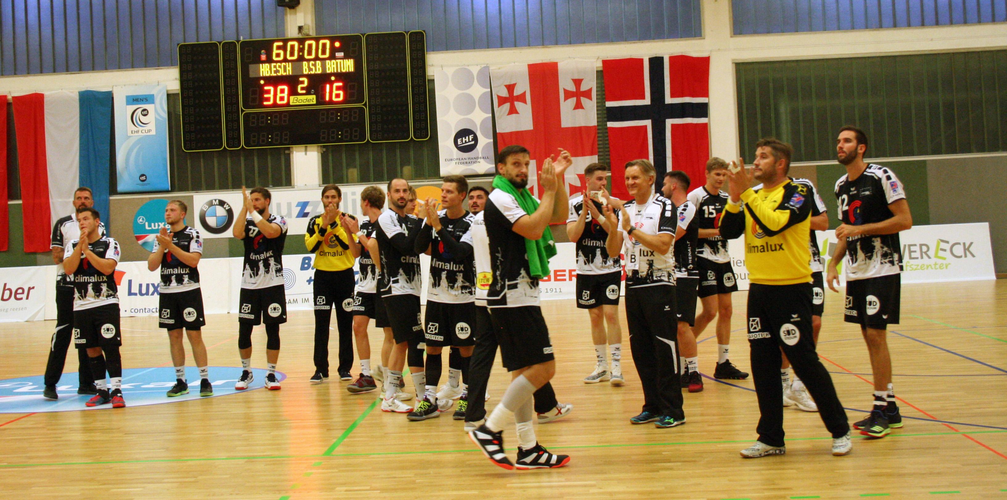 Eis Hären iwwerrennen BSB Batumi mat 38-16 an der 1. Ronn vum EHF-Cup