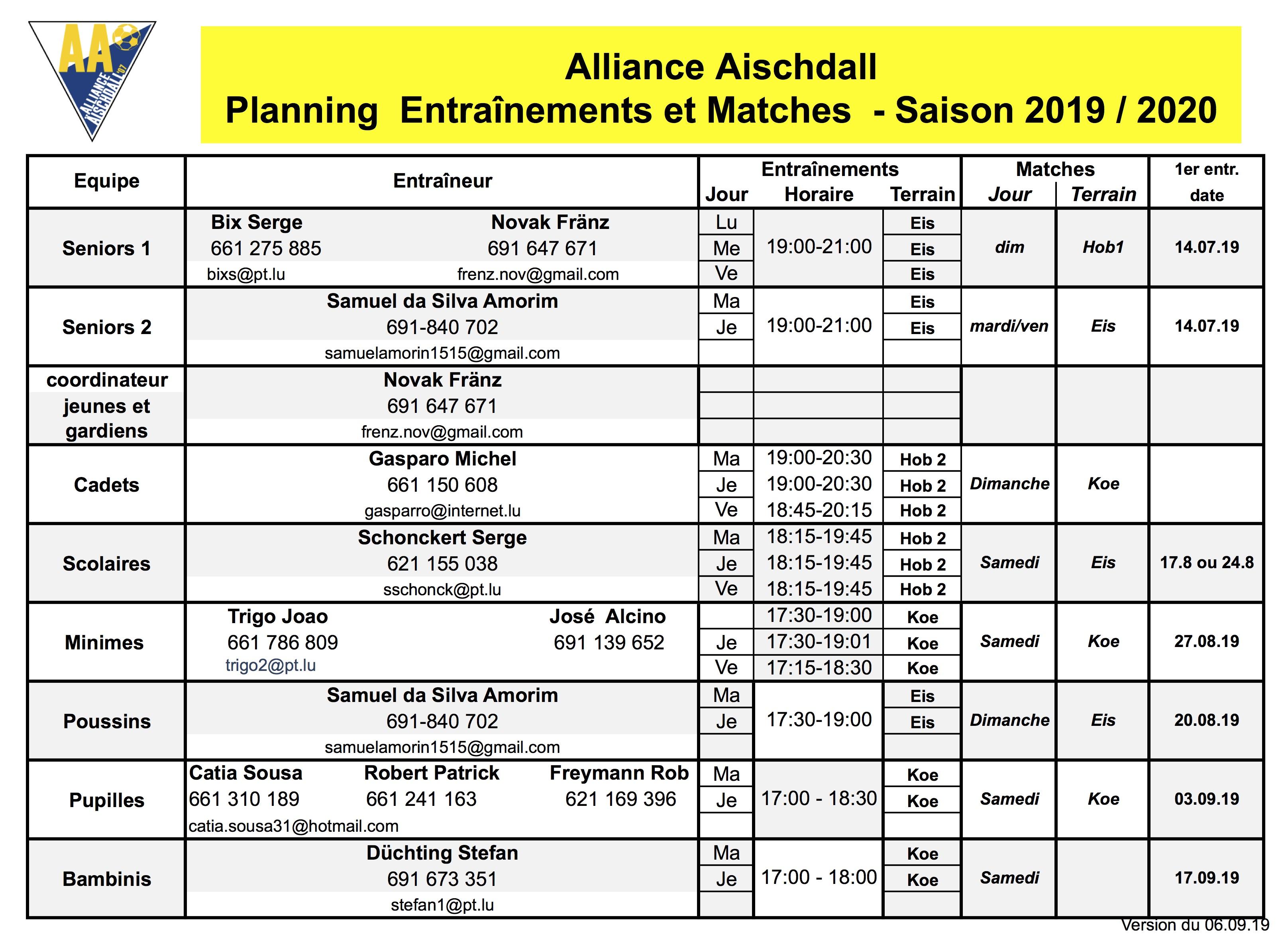 Planning 2019/2020