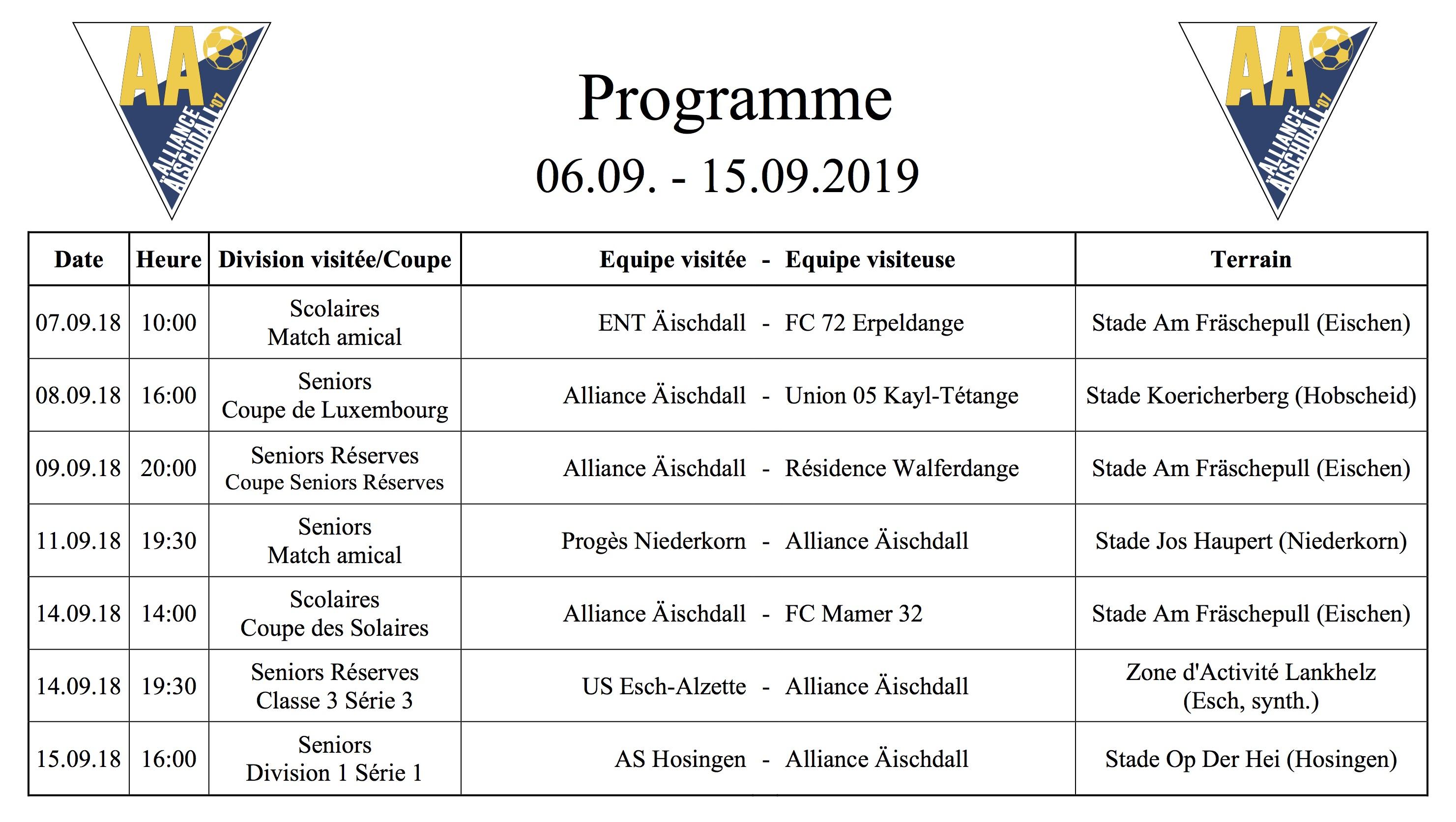 Programm 06.09.-15.09.2019
