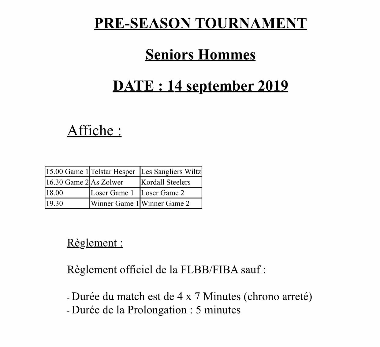 Pre-Season Tournoi Hommes A