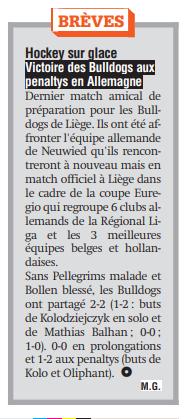 la Meuse du 24 septembre et le résumé de la rencontre contre Neuwied en match amical