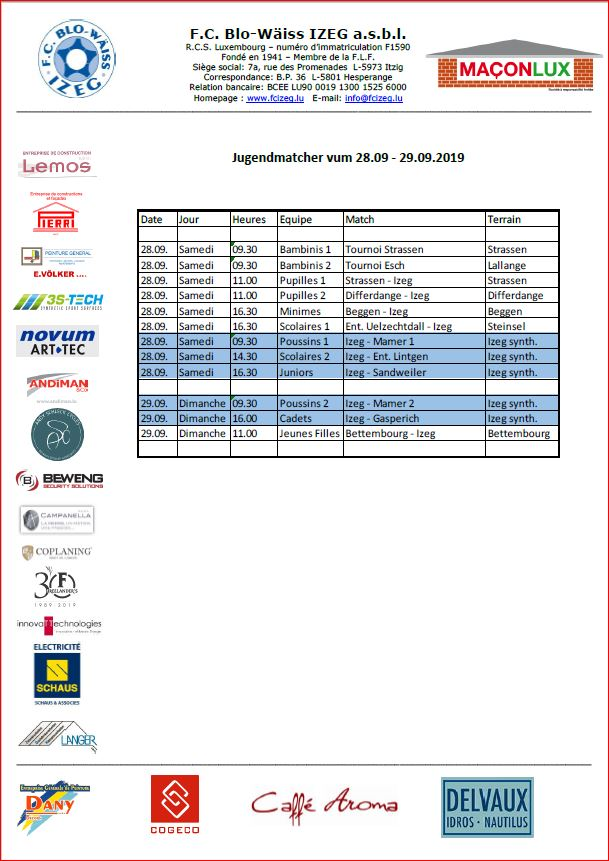 Jugendmatcher vum Weekend 28./29.09.'19