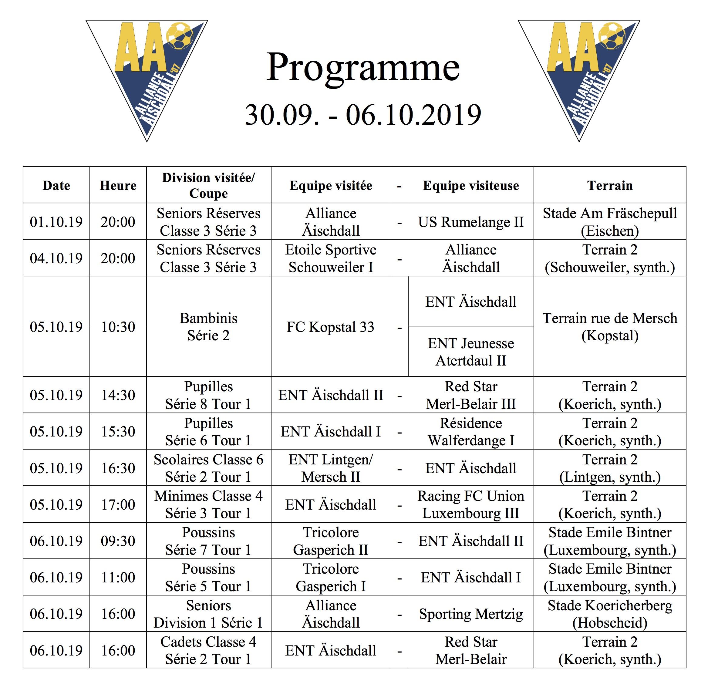 Programm 30.09.-06.10.2019