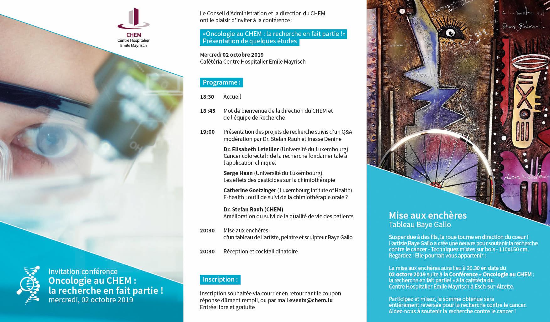 La recherche en oncologie : Invitation à une conférence au Centre Hospitalier Emile Mayrisch