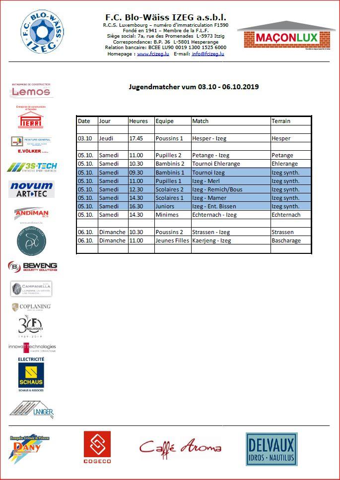 Jugendmatcher vum 03. - 06.10.2019