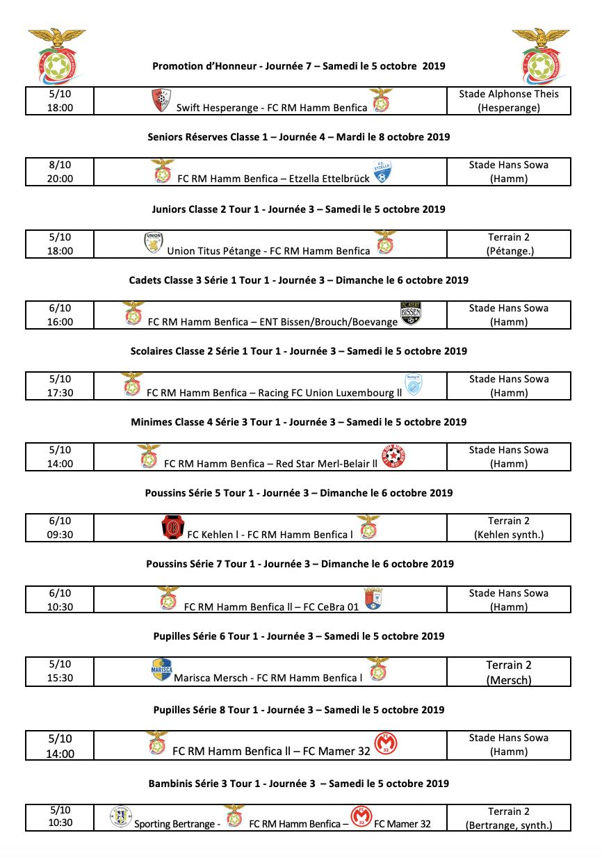 Matchs du 03.10.2019 au 09.10.2019