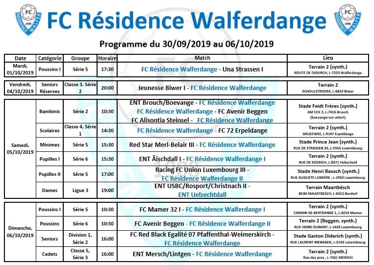 04/10/2019 Programme du week-end du 30/09/2019 au 06/10/2019