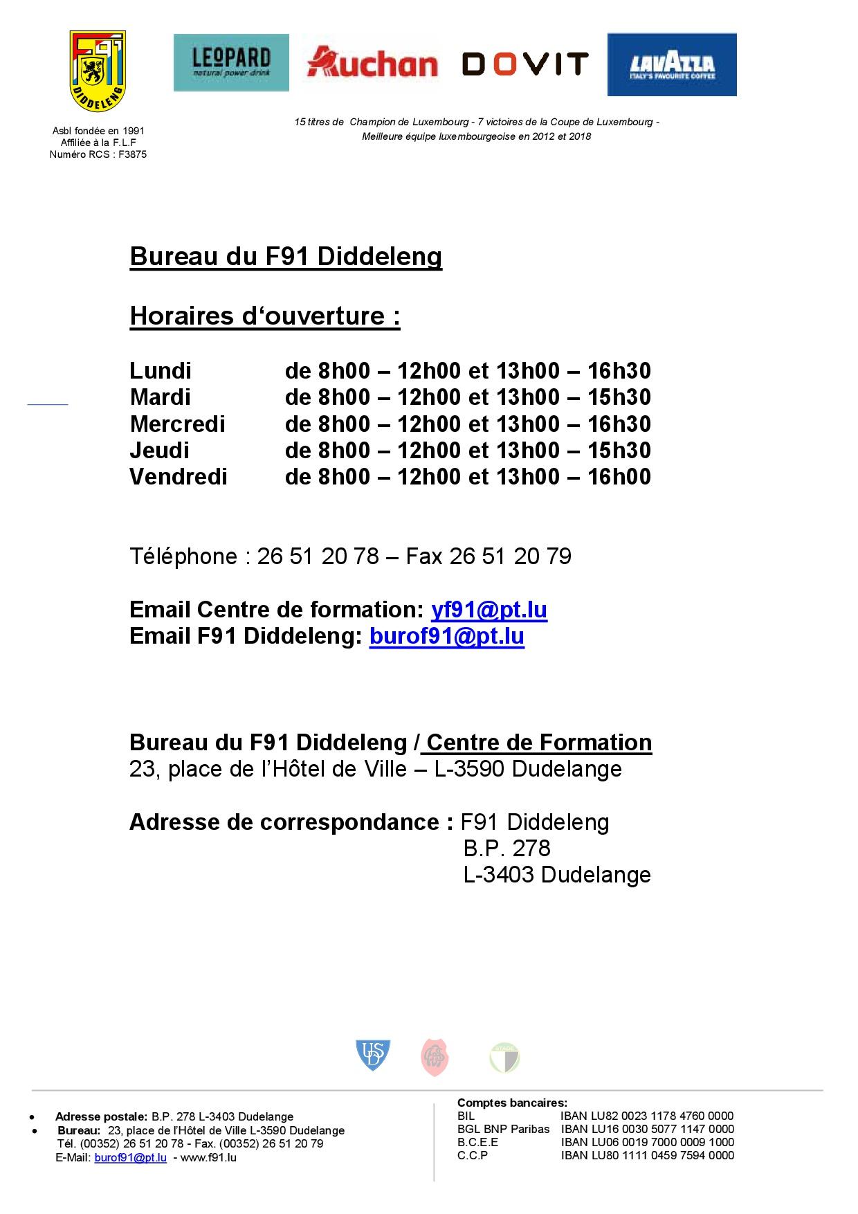 Nouveaux horaires du bureau F91 Diddeleng et du Centre de Formation F91