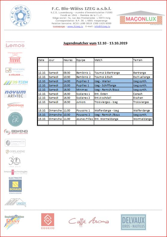 Jugendmatcher vum Weekend 12. an 13.10