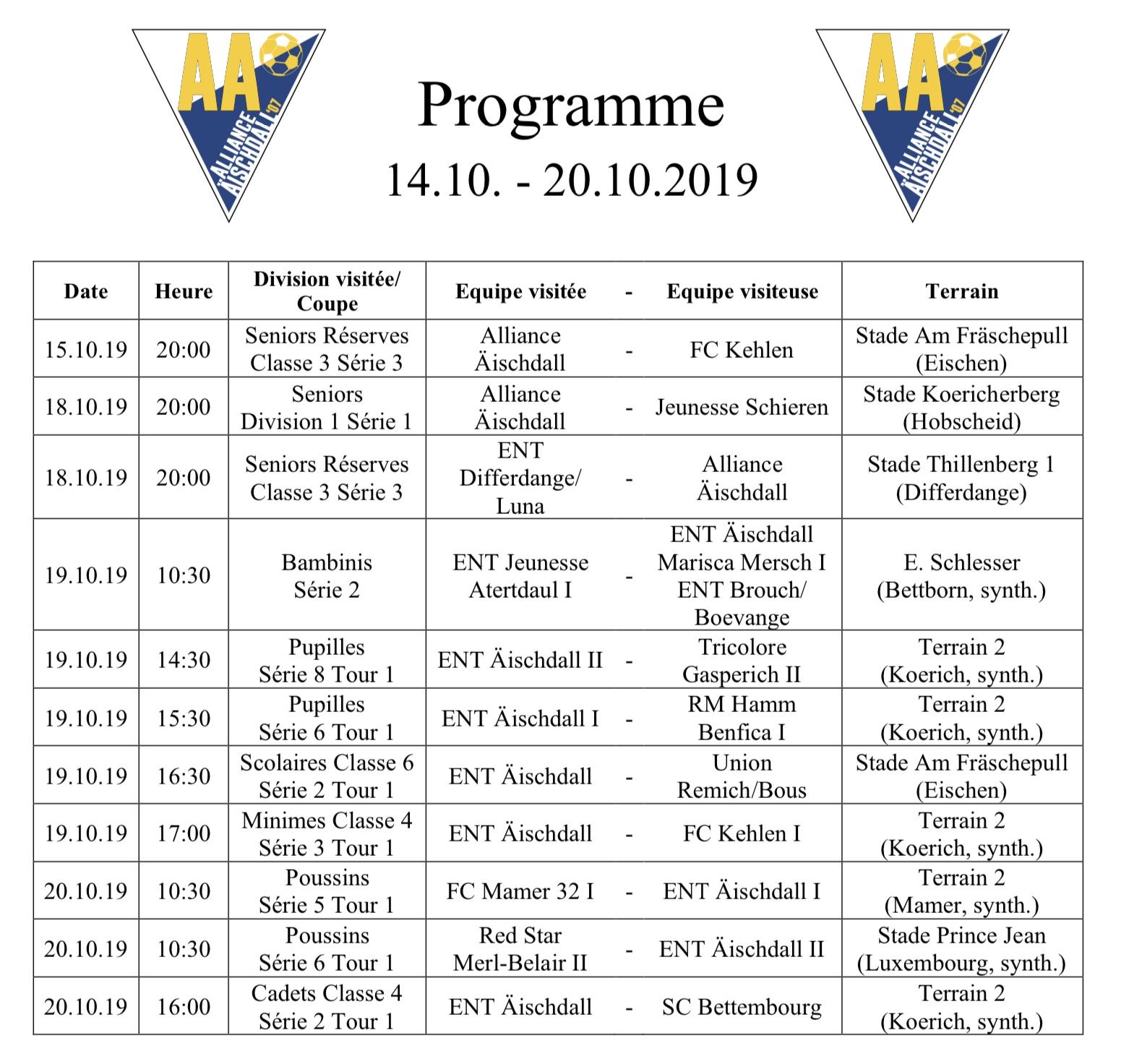 Programm 14.10.-20.10.2019