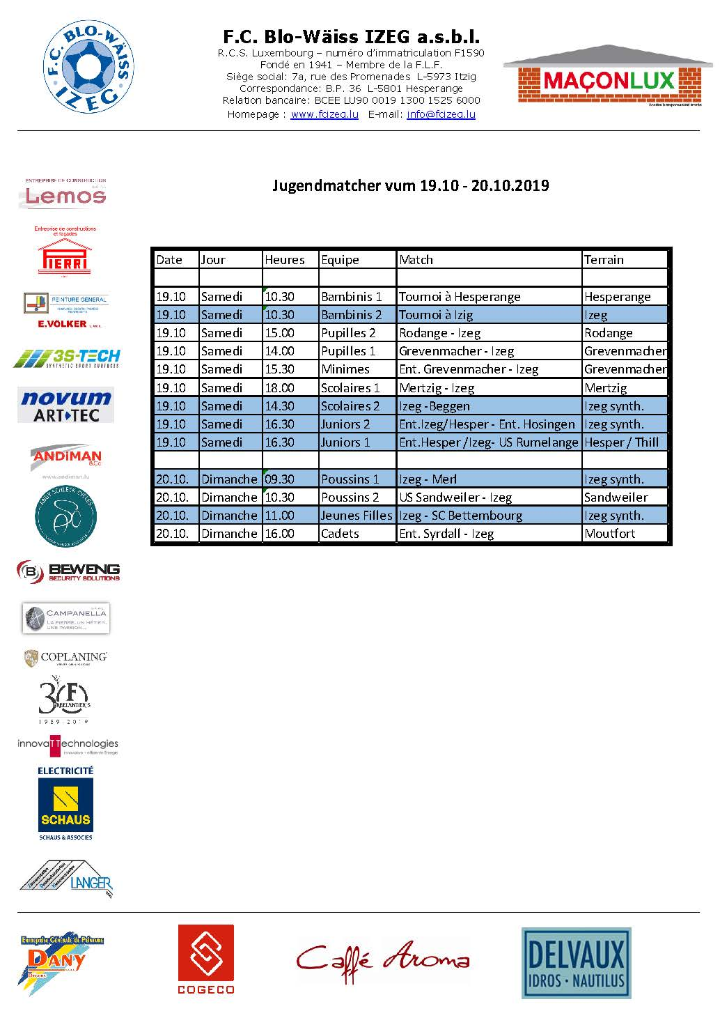 Jugendmatcher vum Weekend 19. an 20. Oktober