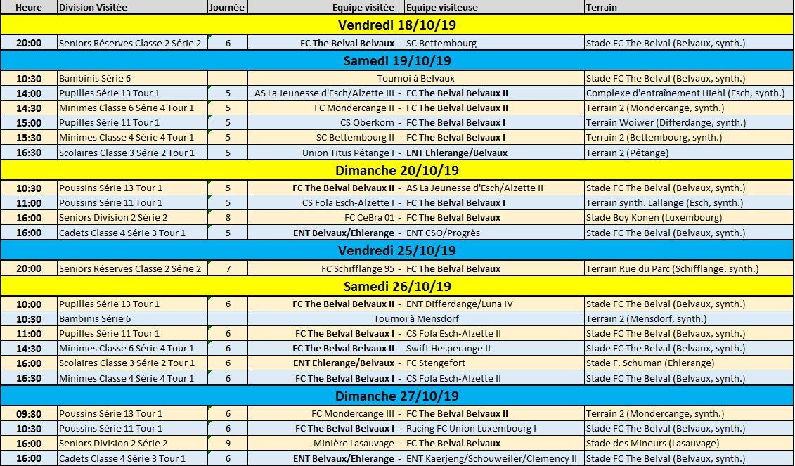 Programme des matches du 18/10/19 au 27/10/119