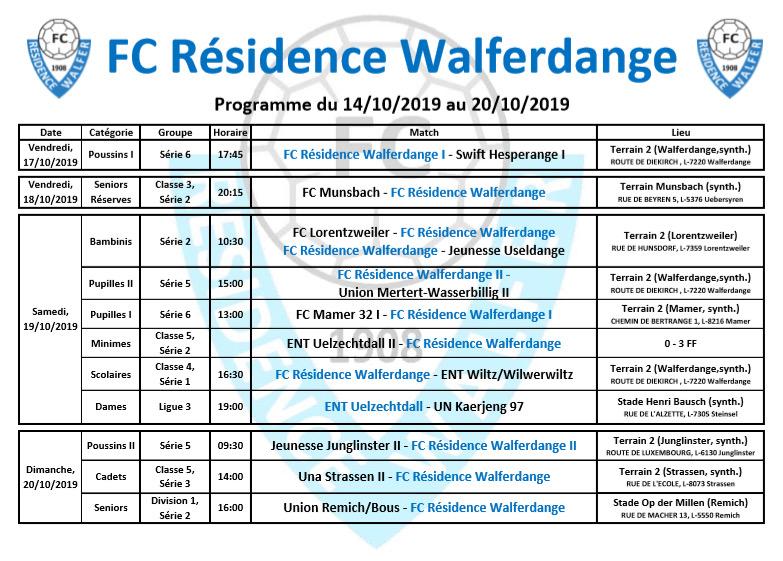 Programme du week-end du 14/10/2019 au 20/10/2019