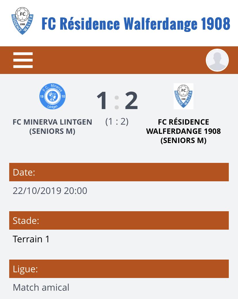 22/10/2019 Resultat match amical