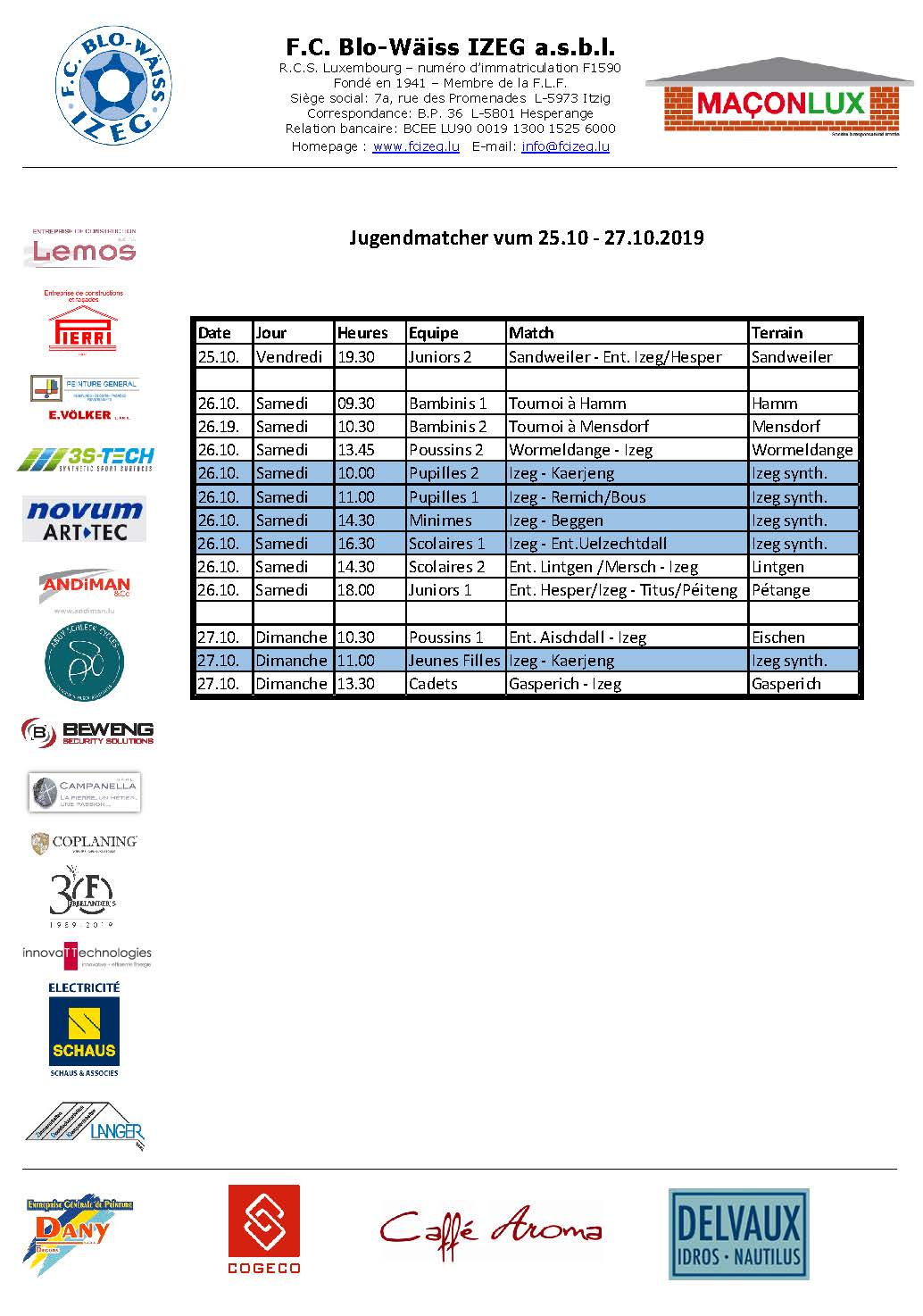 Jugendmatcher vum Weekend 25. bis 27. Oktober