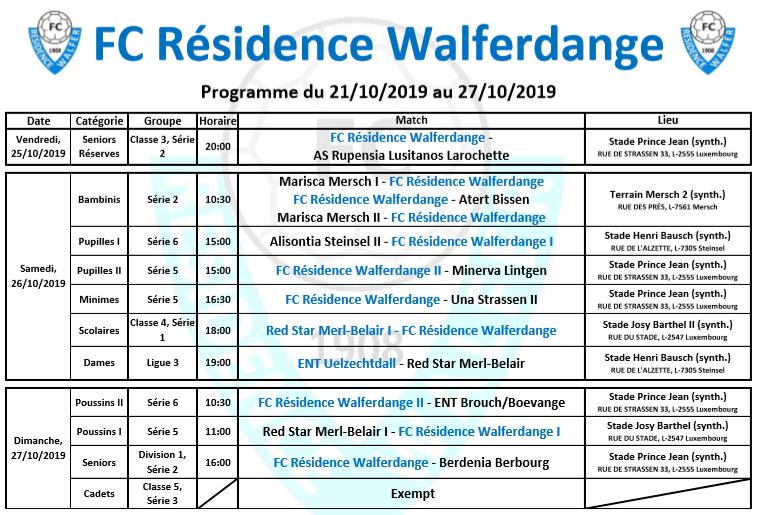 Programme du week-end du 21/10/2019 au 27/10/2019