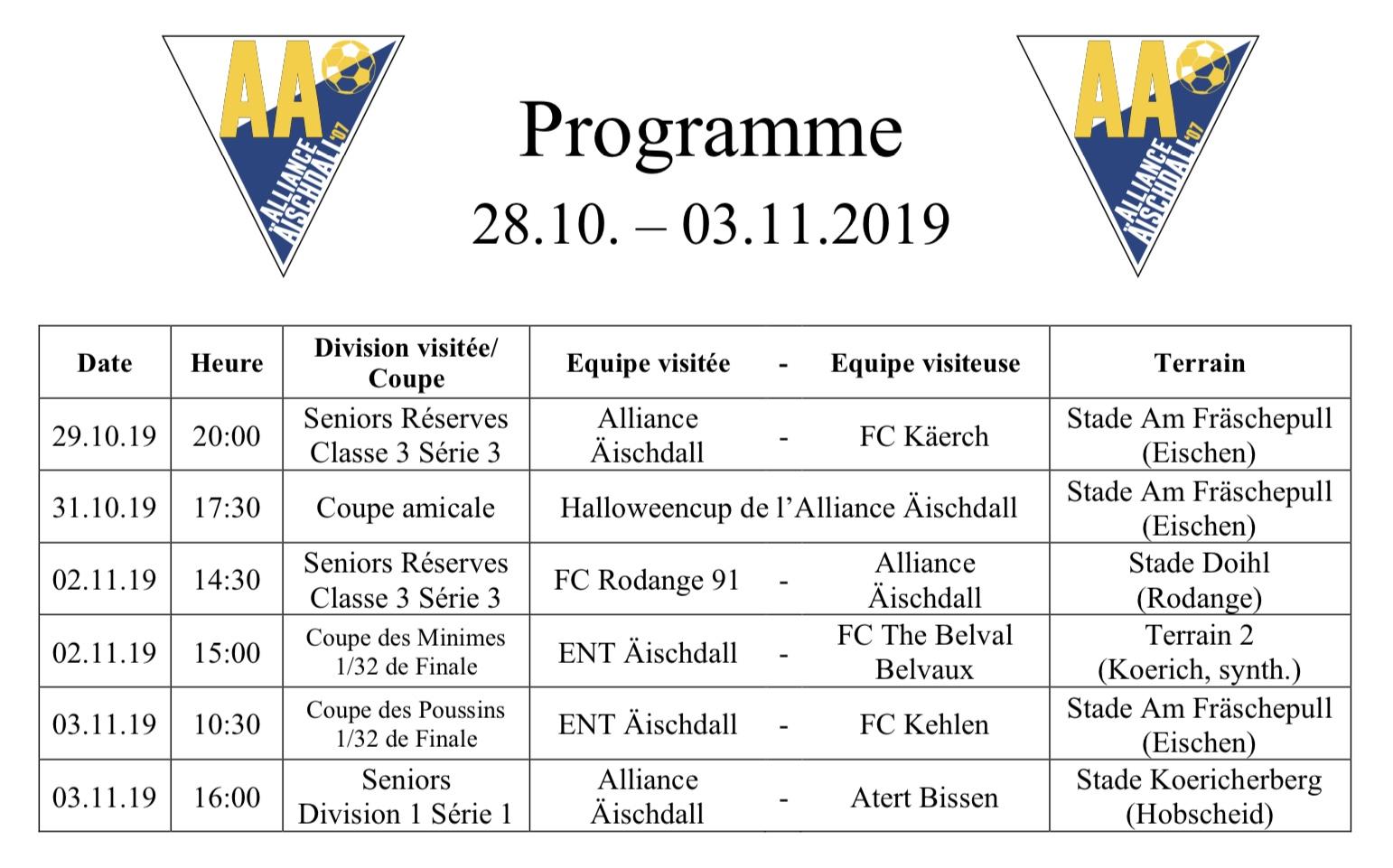 Programm 28.10.-03.11.2019