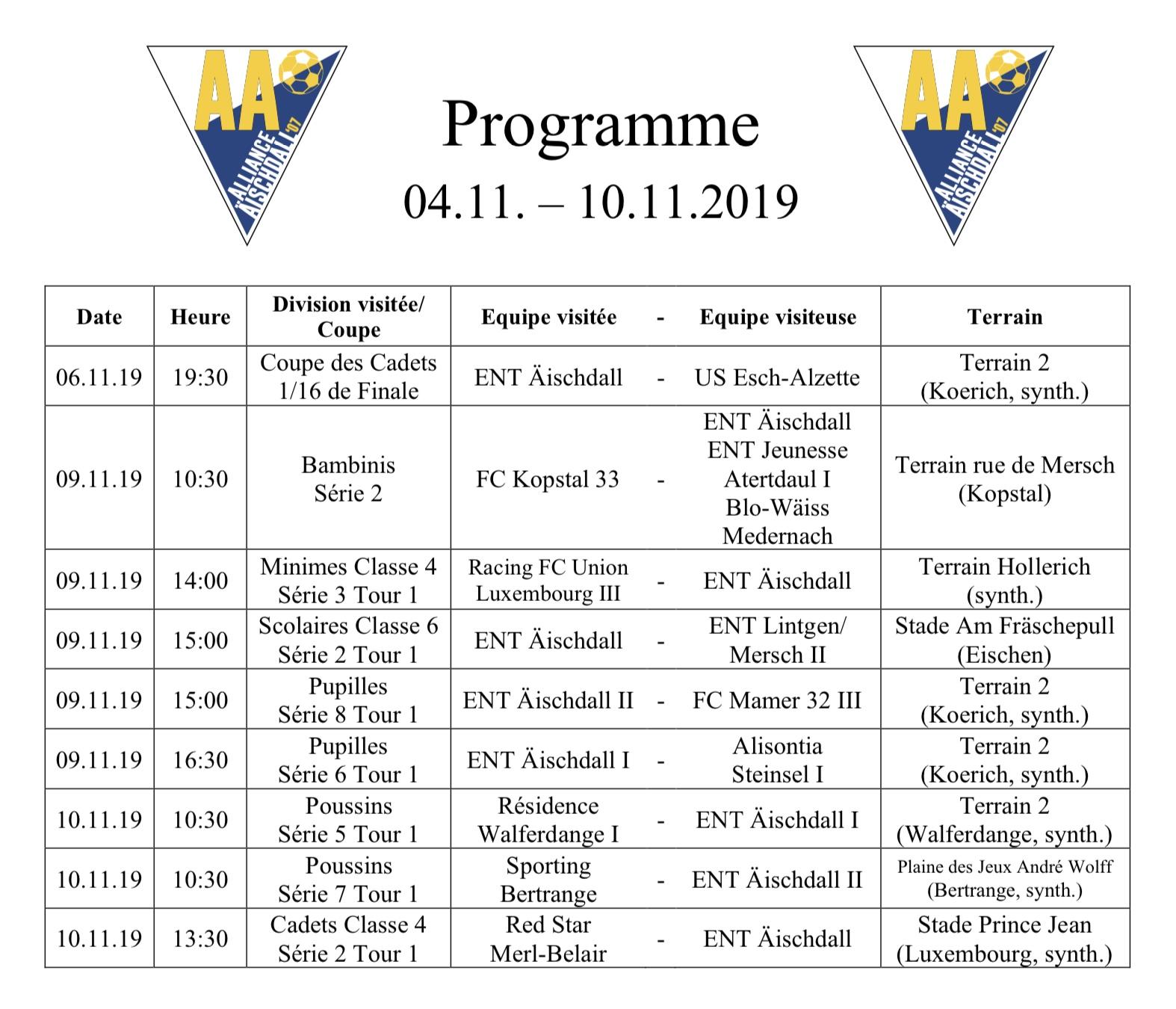 Programm 04.11.-10.11.2019