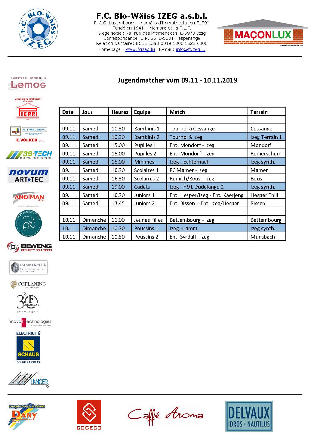 Jugendmatcher vum Weekend 09. bis 10. November