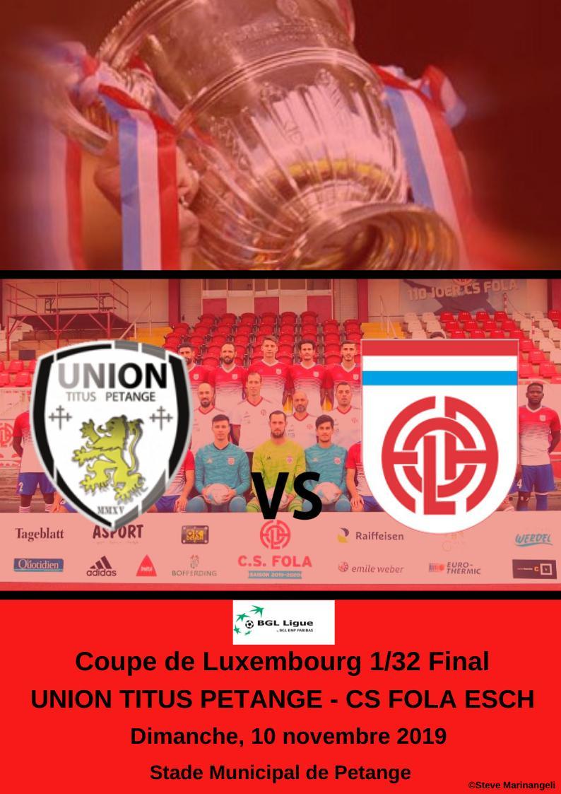 16e finale Coupe de Luxembourg Untion Titus Pétange - CS FOLA