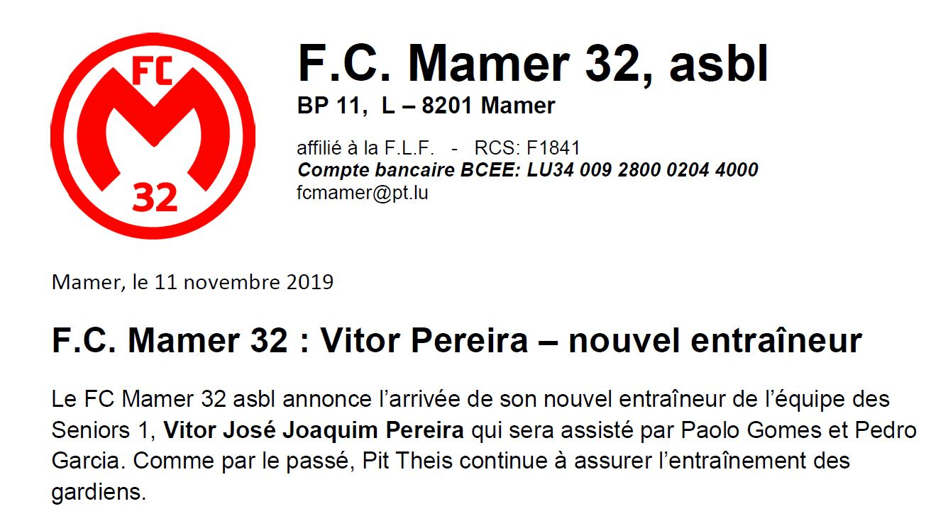 FC Mamer 32 asbl: nouvel entraîneur