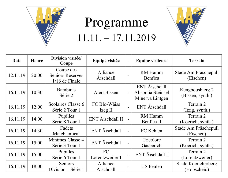 Programm 11.11.-17.11.2019