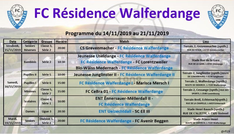 Programme du 14/11/2019 au 21/11/2019