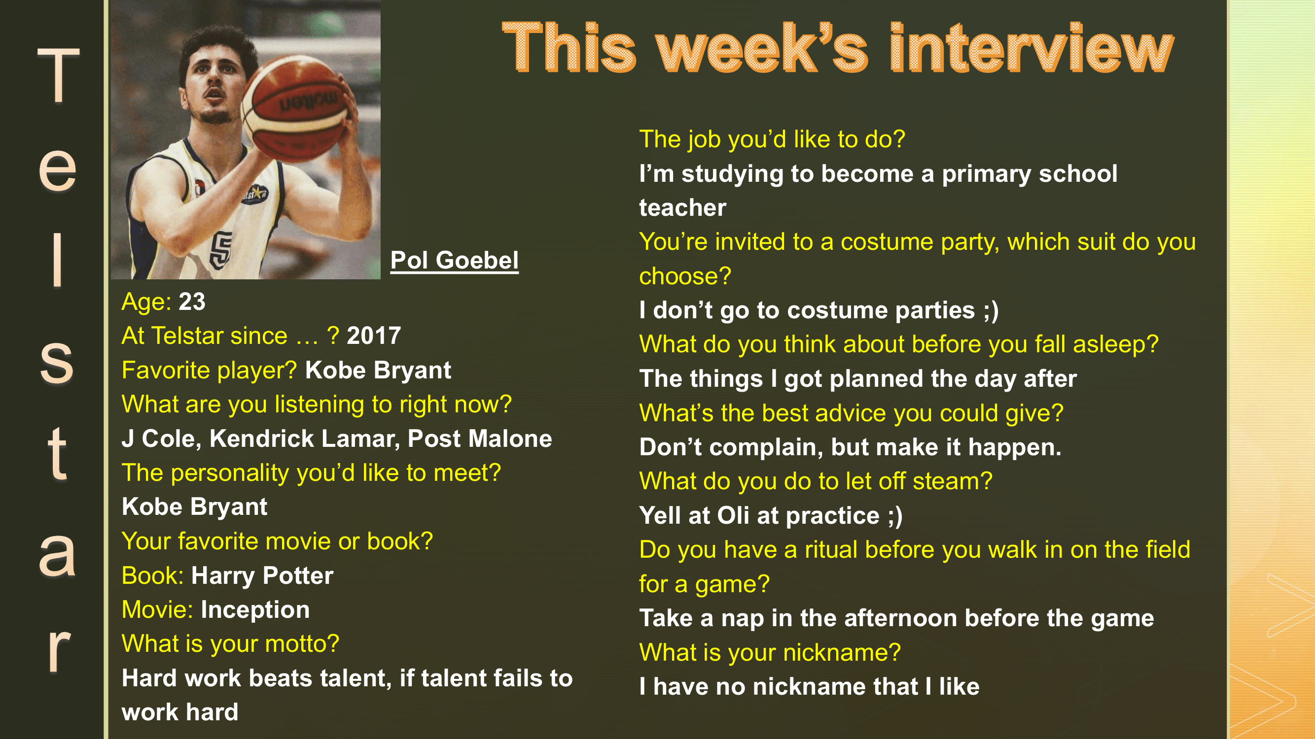 Interview of the Week #5