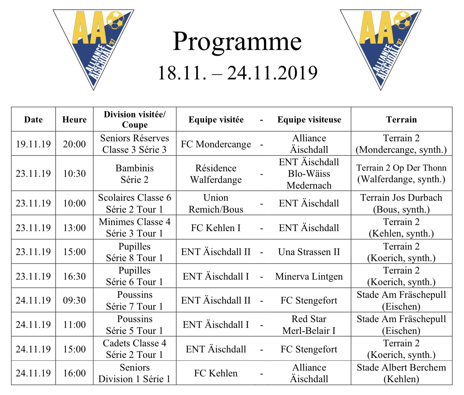 Programm 18.11.-24.11.2019