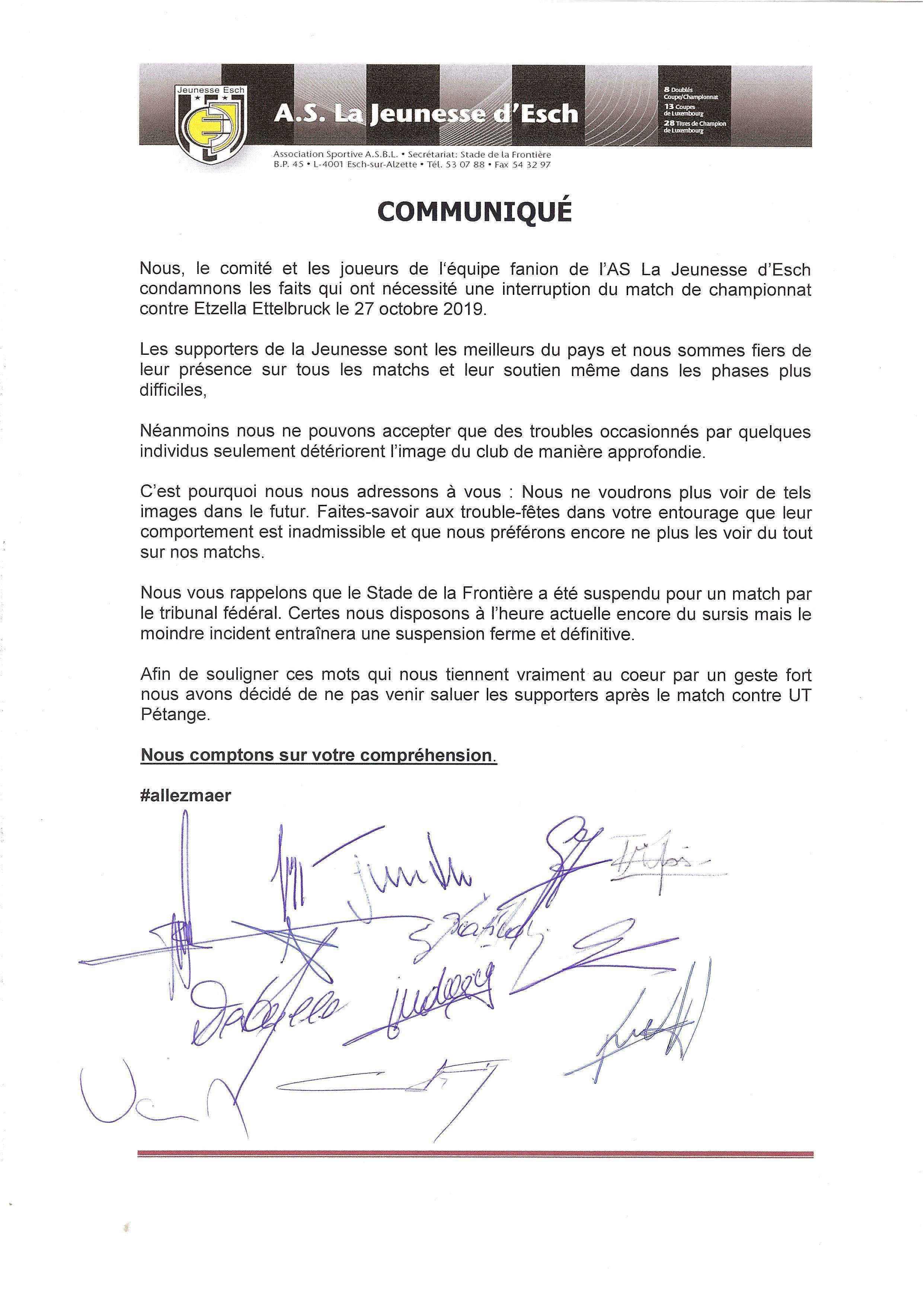 COMMUNIQUÉ SUITE AUX DÉBORDEMENTS LORS DU MATCH CONTRE ETZELLA