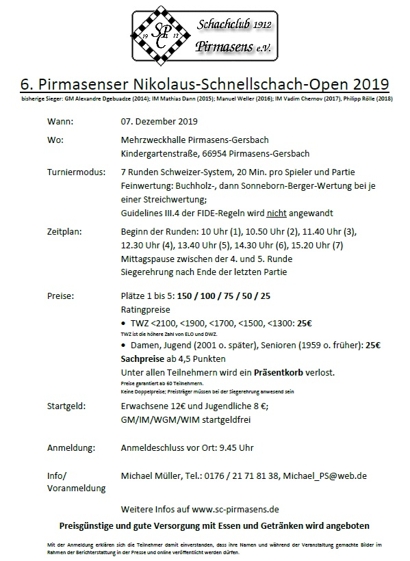 Coming up - 6th Rapid chess in Germany - 7th December 2019
