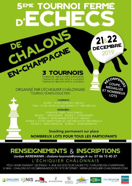 Coming up - 5eme tournoi fermé d'echecs - Chalons - 21-22 Décembre 2019