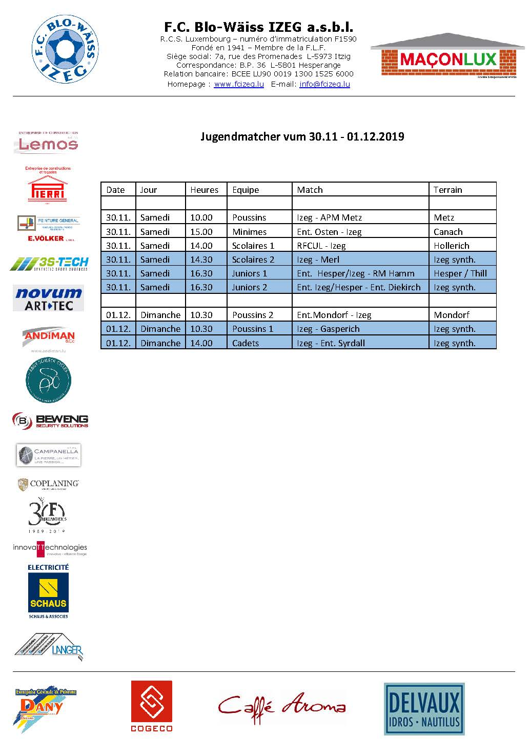 Jugendmatcher vum Weekend 30. November bis 01. Dezember