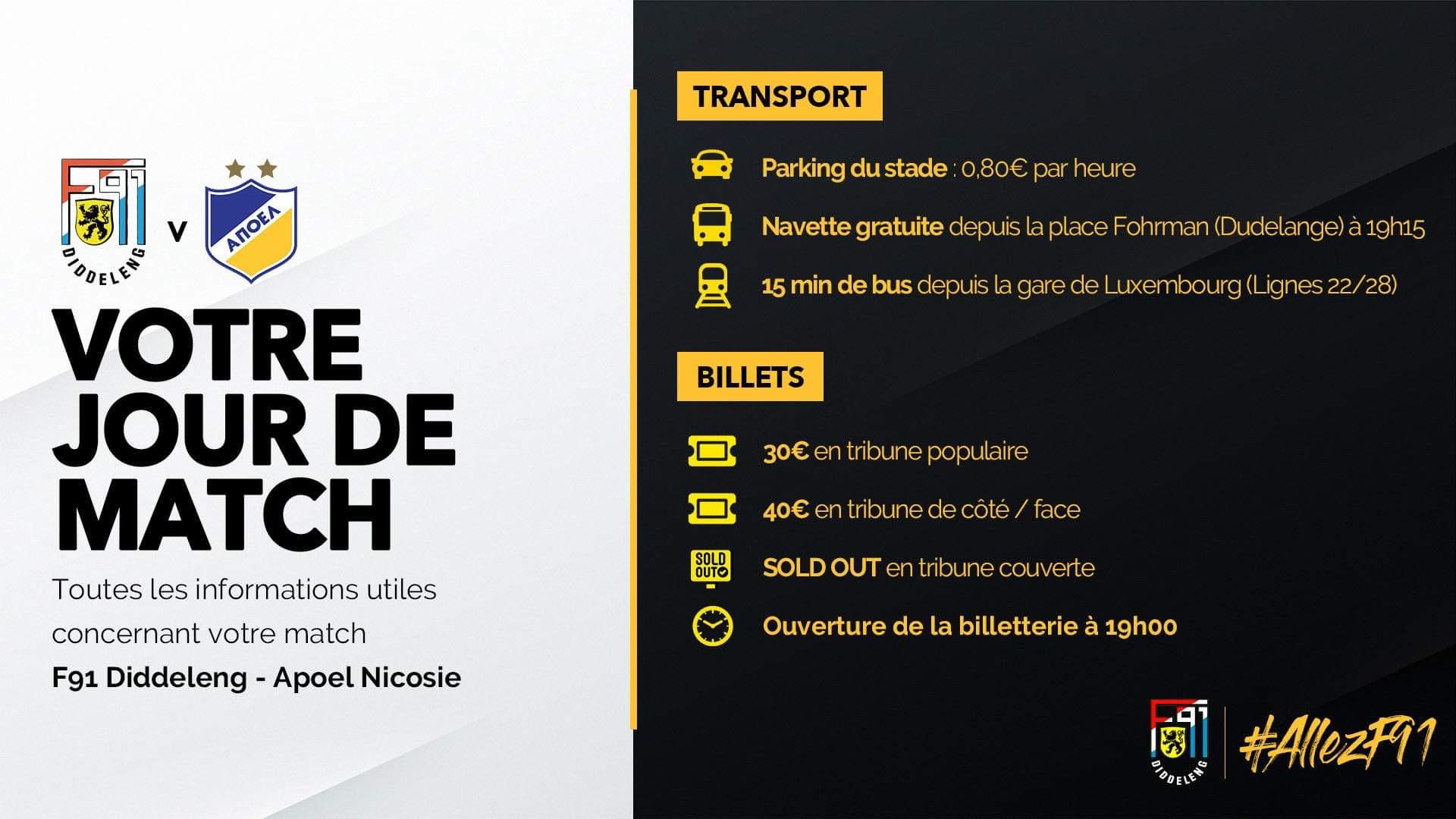 INFOS POUR LE MATCH F91 DIDDELENG - APOEL NIKOSIA