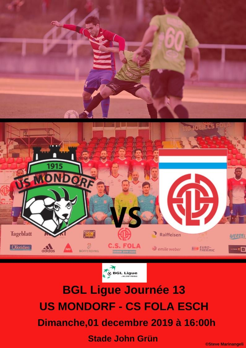 Dernier match de championnat en 2019: come on FOLA