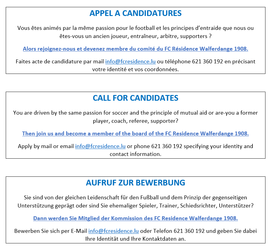 Appel à candidatures / Call for candidates / Aufruf zur Bewerbung