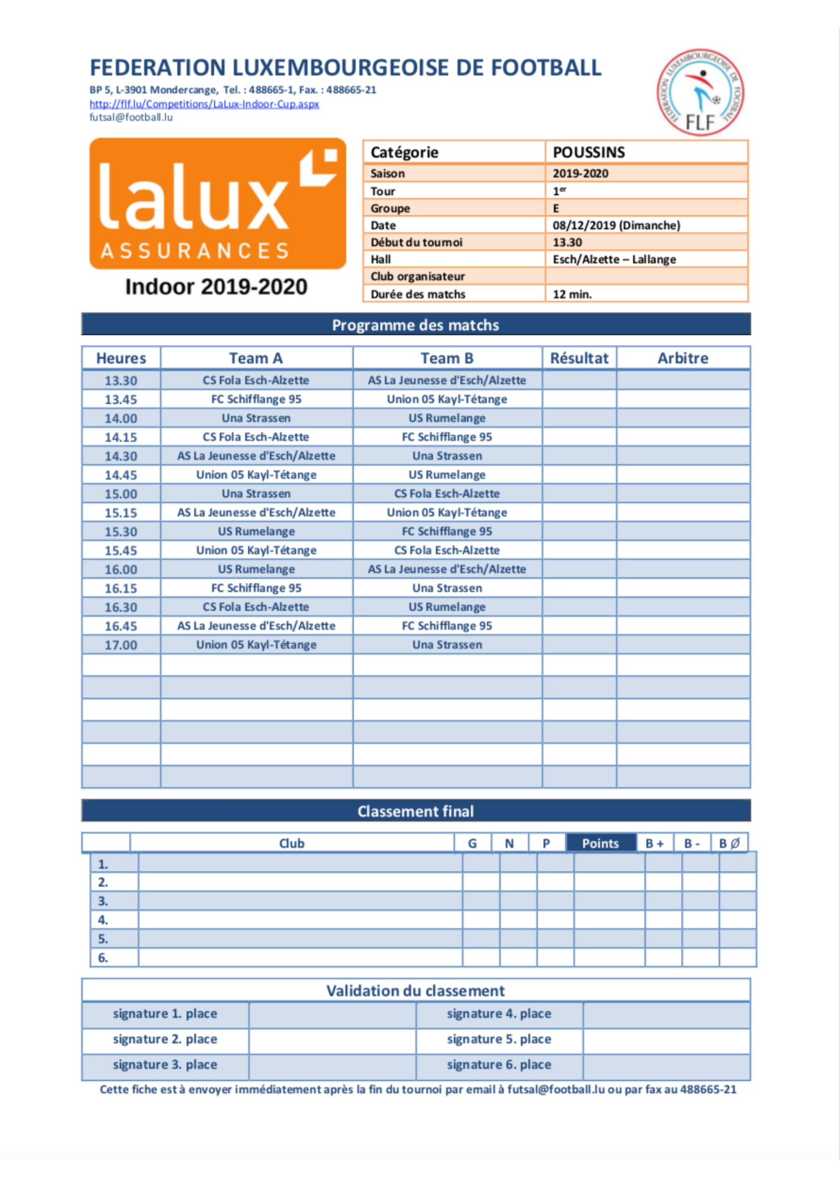 Programmes LaLux Futsal Cup 2019/20