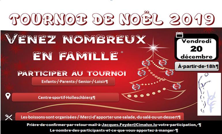 Tournoi de Noël le 20/12/2019