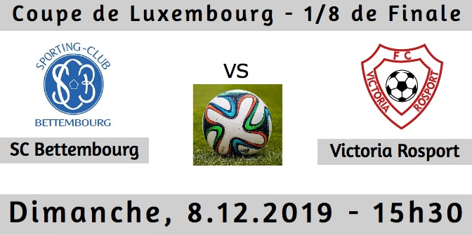 Prochain Match Seniors I - 1/8 Finale Coupe de Luxembourg