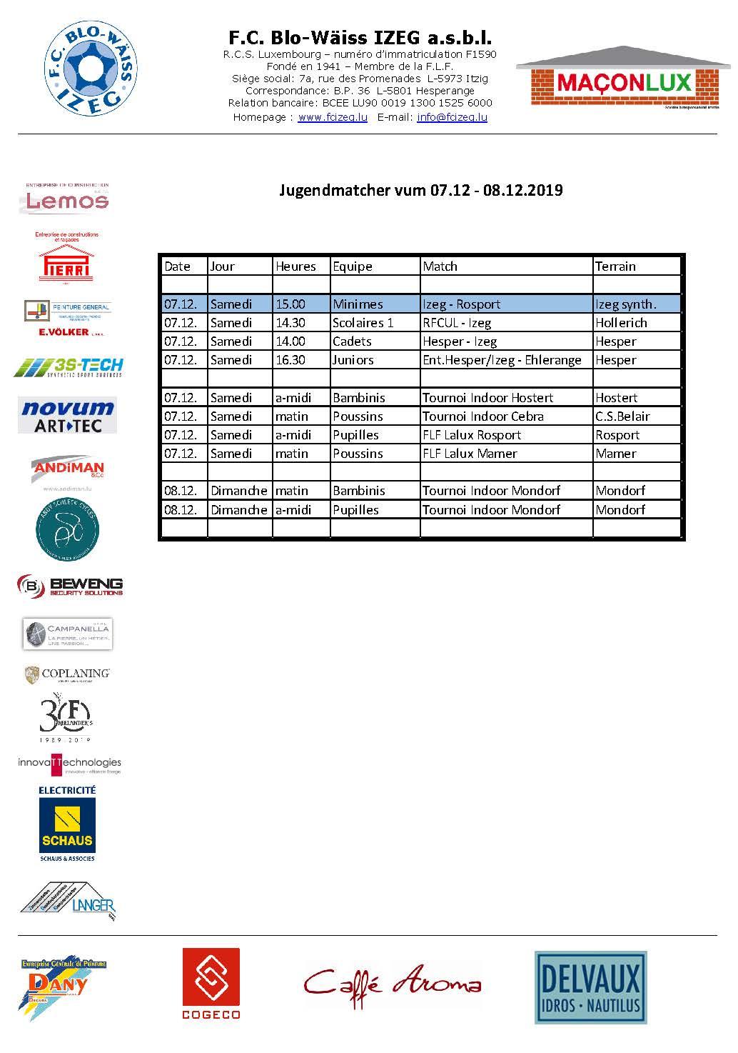 Jugendmatcher vum 07. an 08. Dezember
